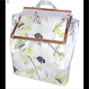 Ted baker grey floral print leather backpack $175
